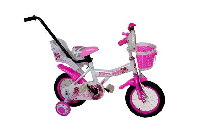 Rowerek 12 dla dziewczynki happy baby fotelik koszyk prowadnik gratis