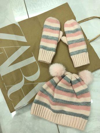 Шапка детская варежки рукавички комплект  h&m zara Размер3/4 года