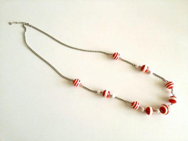Fio colar comprido estilo marítimo náutico riscas branco vermelho