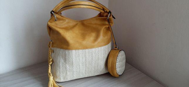 Złota torebka z małą torebką