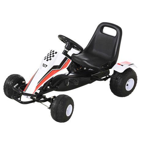 Go Kart a Pedais para Crianças 104x66x57cm Branco e Preto