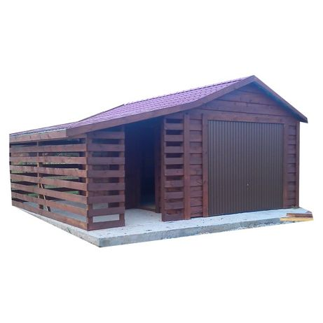 Garaż drewniany z wiatą 350cmx550cm + wiata 250x550cm