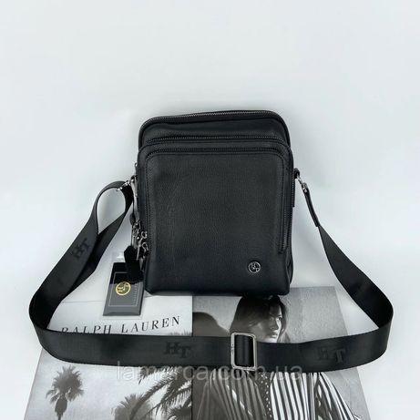 Мусжкая кожаная сумка через плечо H.T. Leather чоловіча шкіряна черная