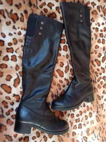 Женские зимние сапоги ботфорты кожа европейка на худую ногу 41р(27)