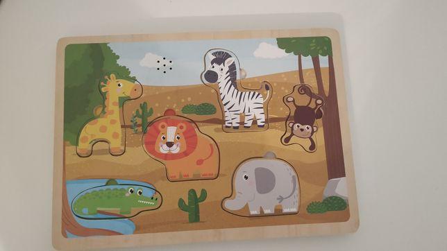 Drewniane puzzle z odgłosem safari