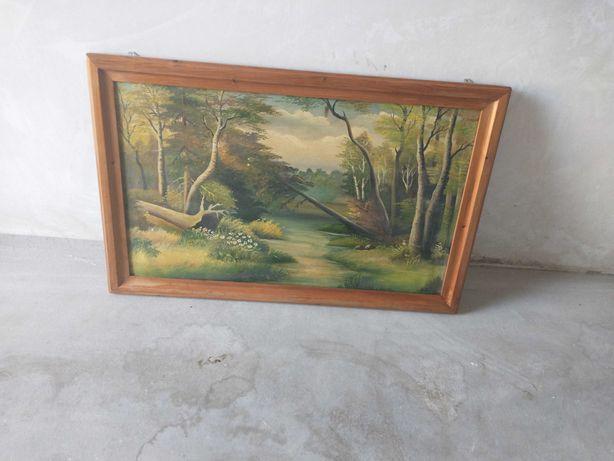 Stary obraz przedstawiający naturę.