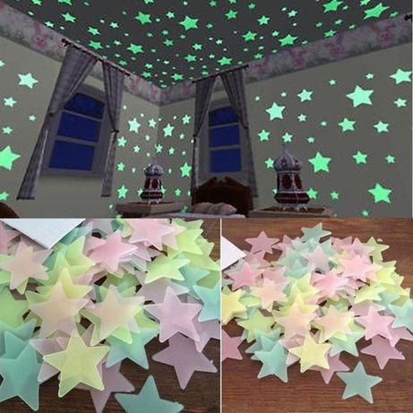 Fluorescencyjne gwiazdki ozdobne 100 sztuk