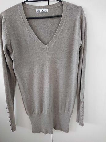 Sweter,kardigan ,bluza ,beżowy ,dekold w serek ,guziki ,rozmiar S /M