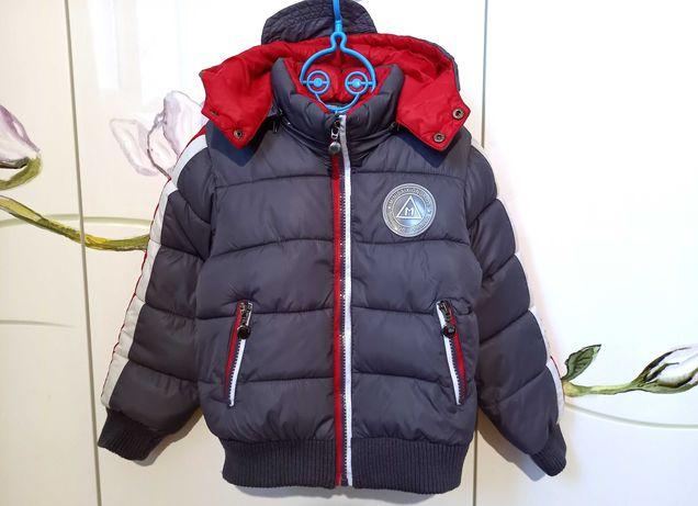 Зимняя теплая куртка курточка серая для мальчика 3-4 года