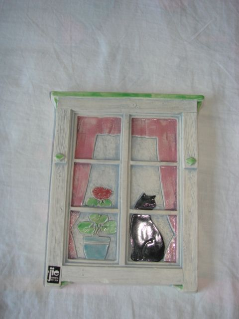 Kot w oknie - Jie Gantofta ceramiczny obrazek ci Pruszcz Gdański - image 1