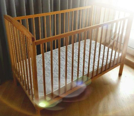 Łóżeczko dziecięce niemowlęce drewniane plus materac