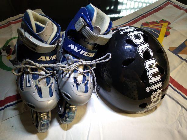Patins em linha e capacete da Imaginarium