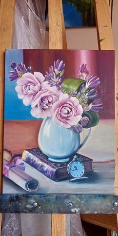 """Картина маслом. Холст на подрамнике. """"Пионы в вазе"""" размер 40х30"""