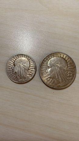 Монета 10 злотых и 5 злотых 1932-1933 год Польша. Серебро