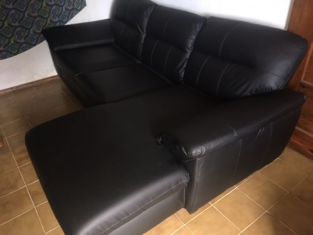 Sofâ chaise-longue IKEA em pele preto