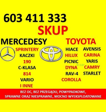 Skup MERCEDESÓW Mercedes Sprinter Kaczka,TOYOT Toyota Hiace Avensis