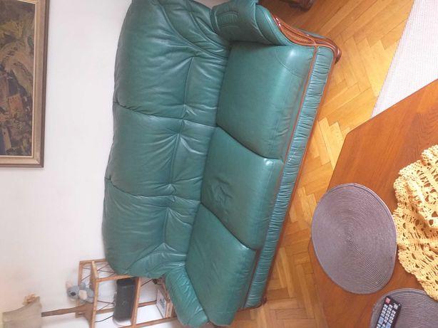 Zestaw wypoczynkowy drzewo, skóra, stół +krzesła
