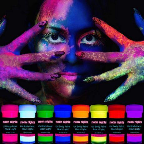 Farby Fluorescencyjne 8 Kolorów ! Do Malowania Ciała NEONOWE