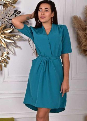 Женское платье, платье-рубашка, бирюзовый цвет р.46-50