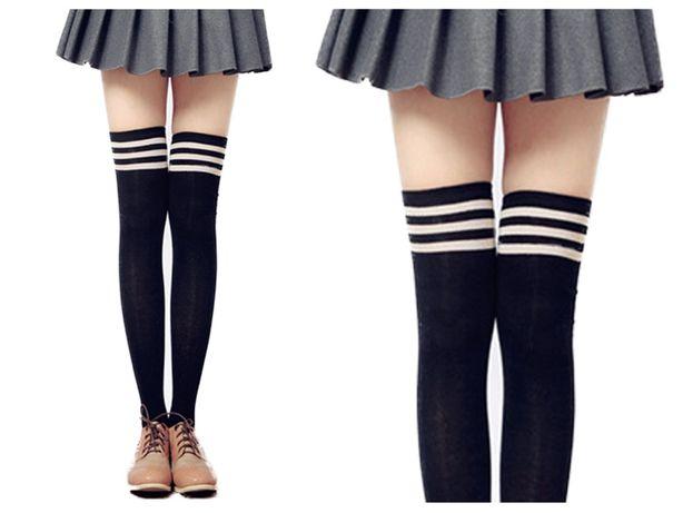 Zakolanówki damskie kolanówki czarne z paskami bawełniane