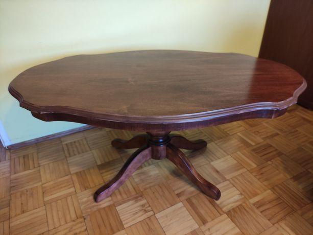 Stylowa drewniana ława stolik kawowy na nodze owalna