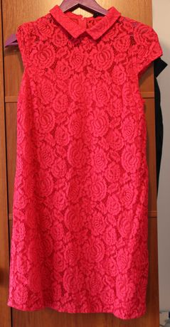 Elegancka, różowa koronkowa sukienka z kołnierzykiem rozmiar 38 MOHITO