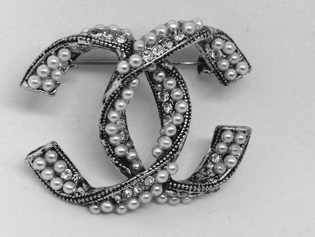 Broszka cc perły cyrkonie stare srebro retro