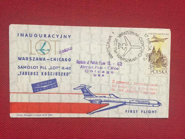 LOT Inauguracyjny lot Warszawa-Chicago IŁ-62 1972r. koperta stemplowan