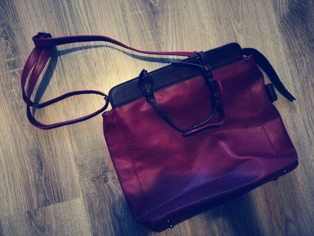 ŚWIETNA czerwona torba / torba bordowa / na ramię / duża / pakowna