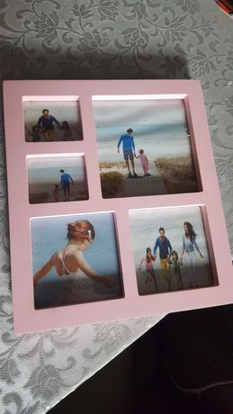 Moldura (selada) para várias fotos cor de rosa