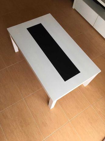 Mesa branca com vidro preto no topo 100x60x41cm