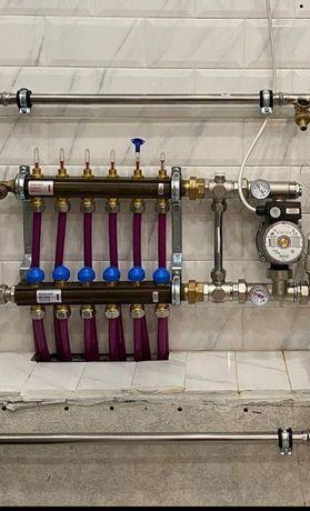 Монтажные работы отопление, водопровод,топочные,теплые полы