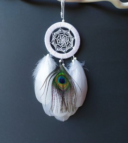 Маленький ловец снов с пером павлина, оригинальный подарок. Декор