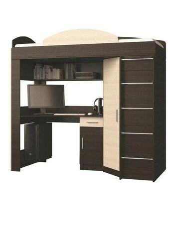Двухъярусная кровать со столом и шкафом