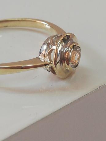 WŁOSKI Brylantowy złoty pierścionek ITALY. PIĘKNOTKA