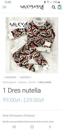 Dres Nutella Milkybaby, oryginał, r.74