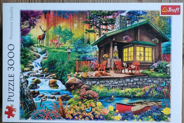 Puzzle Trefl 3000 el  Chatka w lesie