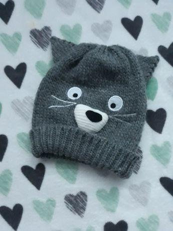Szara ciepła czapka z uszami kot kotek