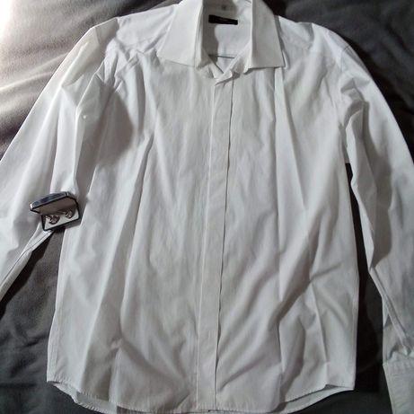 Koszula biała Giacomo conti XL + spinki do mankietów Oskar