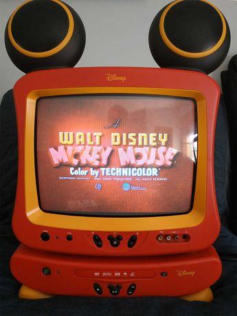 Disney Mickey Televisão TV+Leitor DVD+Joystick+Leitor CD+ Relógio