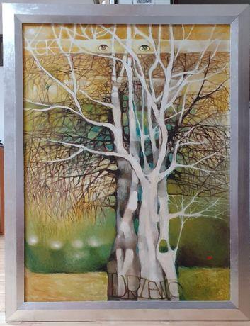"""Obraz olejny Ewy Kann pt. """"Drzewo"""", wymiary 106,5 x 136 cm. (z ramą)"""