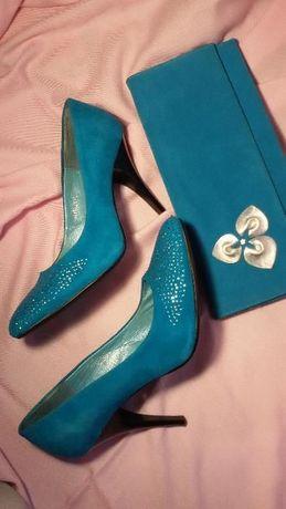 Бирюзовые замшевые туфли 39 р.