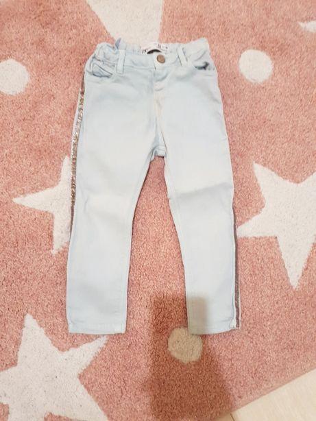 Miętowe jeansy ZARA j nowe 98 tregginsy mięta