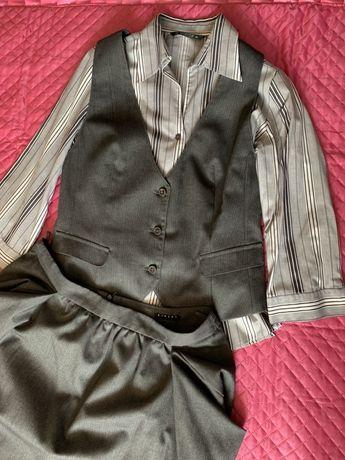 Костюм юбка жилет деловой стильный р.М