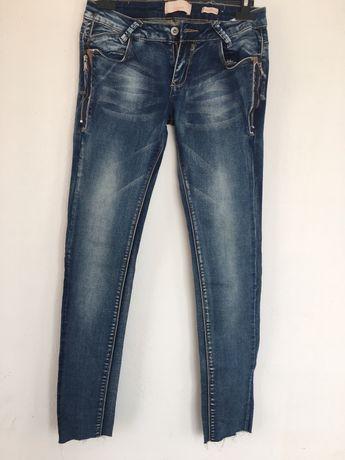 Spodnie damskie jeansy z zamkami rozmiar M