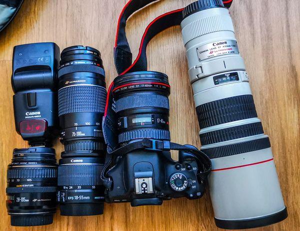Canon EOS 600D, EF 17-40, EF-S 18-55, EF 400, EF 75-300, EF 28-105