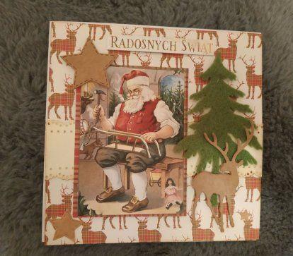 Kartka ręcznie robiona świąteczna mikołaj
