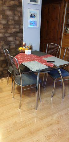 4 krzesła szare chrom