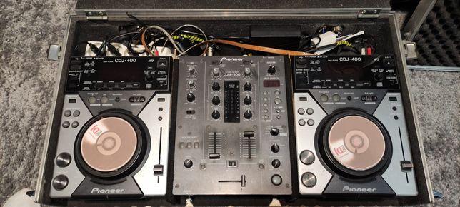Konsola DJ 2x CDJ 400, DJM 400 + case + kable