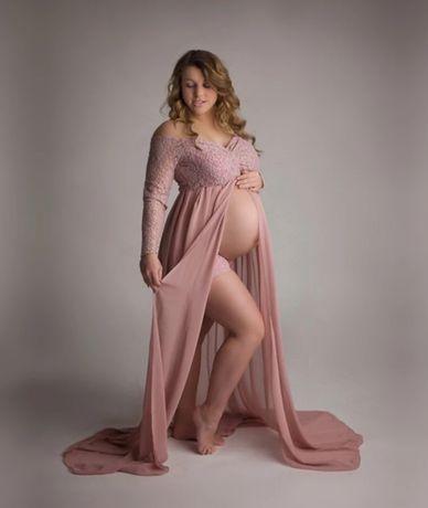 Sukienka ciążowa, na sesje, odkryty brzuch